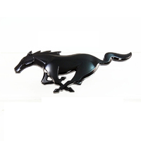 Genuine 2015-20 Black Running Horse Front Grille Badge - Gloss