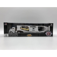 M2 Machines 1956 Ford CDE & 1965 Ford Mustang 2+2 Fastback Model Car White and Cream